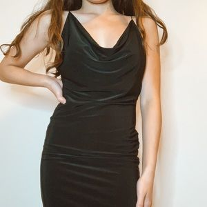 new pretty little thing black dress w cowl neck